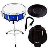 Mendini Student Snare Drum Set with Gig Bag, Sticks, Stand and Practice Pad Kit, Blue, MSN-1455P-BL