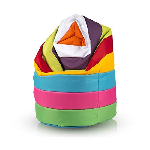 Ecopuf Sitzsack L Streifen - Outdoor und Indoor Kunstleder Bean-Bag mit Anti-Verlust Reißverschluss