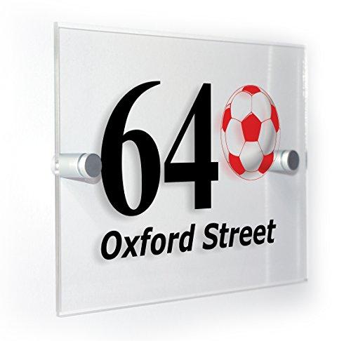Premium Home Plaques Football Rouge et blanc style classique Numéro de maison plaque Home Pancarte pour une utilisation en extérieur tous les types de mur