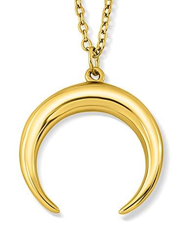 VIASOUL® Halskette Mond I Aus 925er Silber mit 585er Gold überzogen I Die Original Moon Kette (Gold)