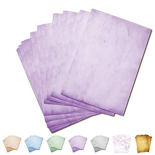 Partycards 50 Blatt Briefpapier doppelseitig bedruckt, geeignet für alle Drucker (Lila, Format DIN A4 (21 cm x 29,7 cm), Grammatur 90 g/m²)