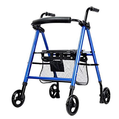 Drive Medical Walker Tasche Caddy Pouch Rollator Klapp- und Rückenstütze, Räder, gepolsterter Sitz mit Einkaufskorb, Blau für ältere Menschen, Senioren, Handicap, Behinderte