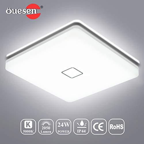Deckenleuchte LED 24W, LED Deckenlampe Bad, Öuesen Badlampe Wasserfest IP44 5000K Kaltweiß Badezimmerlampe Küche Wohnzimmer Badezimmer Leuchten Schlafzimmer Badleuchte Decke Ø32cm, 2050LM