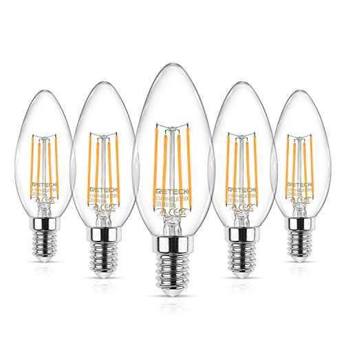 Reteck 5er Pack E14 Kerze LED Lampe,4W ersetzt 40 Watt, Farbwiedergabeindex CRI 95+, 450LM, Warmweiß 2700K, Glas, E14 Glühfaden Classic kerzenlampe, kerzenform e14 led birne