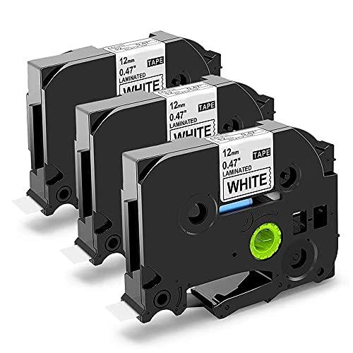 Nastri Oozmas Compatibile In sostituzione di Brother TZe-231 TZe Tape 12mm 0.47 x 8m, Compatibile Brother P-touch PT-H110R PT-1005 PT-1010 PT-H107B H100LB, (Nero su Bianco, confezione da 3)