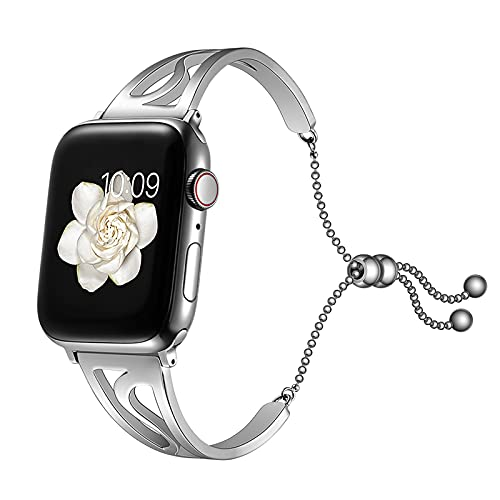 Compatible con Correa para Reloj Apple Watch Band 38/40mm 42/44mm, Acero Inoxidable Correa para Mujer Niña Compatible con iWatch Series 6 5 4 3 2 1 SE,Silver,42/44mm