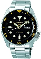Seiko 5 Sports Men's Automatic Watch Black Dial Yellow Accents, Silver Stainless Steel Strap Analog Display, SRPD57K