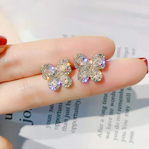LIUBAOBEI Orecchini da Donna,Orecchini A Bottone in Cristallo di Lusso in Oro Rosa Orecchini A Farfalla Orecchini A Forma di Farfalla Gioielli da Donna Color Oro Argento-A