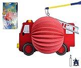 TIB Heyne 13432 - Motivlaterne, Feuerwehrauto, Ø20cm, schwer entflammbar, ohne Kerzenhalter, Feuerwehr, St. Martin, Laternenumzug