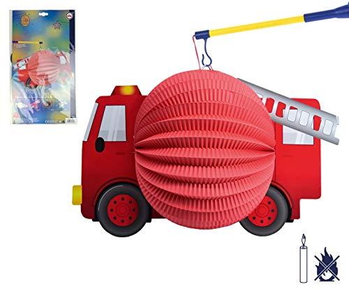 TIB Heyne - Motivlaterne, Feuerwehrauto, Durchmesser 20cm, schwer entflammbar, ohne Kerzenhalter, Feuerwehr, St. Martin, Laternenumzug tib_13432 Mehrfarbig Einheitsgröße