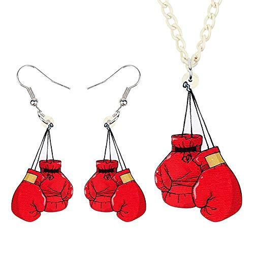 ZWwei Juego de joyas acrílicas con guantes de boxeo rojos únicos, collar y pendientes, colgante para mujeres y niñas, regalo de fiesta (color: A)