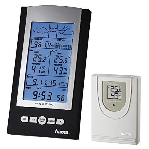 """Hama Estación Meteorológica """"EWS-800"""" Plata/Negro con función despertador y temperatura exterior"""