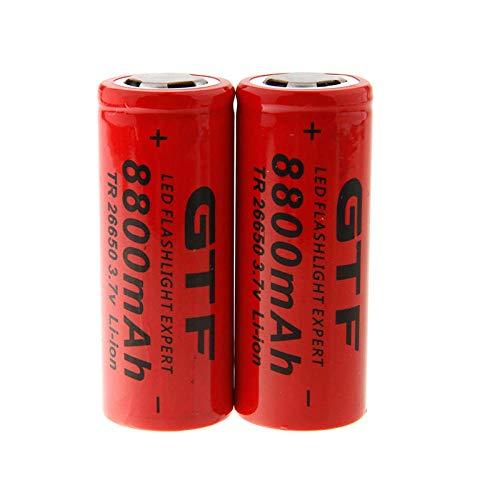 2PCS 3.7V 8800mah 26650 Battery Li-ion Rechargeable Battery for Flashlight Rechargeable Battery LED