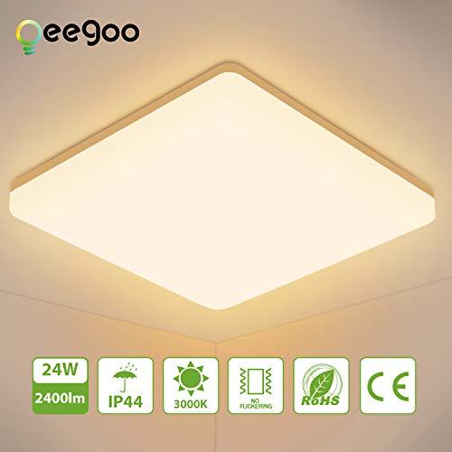 Oeegoo LED Deckenleuchte 24W, 2400LM Flimmerfreie Led Deckenleuchte Bad, IP44 Wasserdicht LED Deckenlampe Für Schlafzimmer, Kinderzimmer, Küchen, Büro 3000K