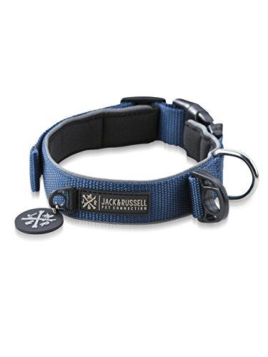 Premium Hundehalsband Luna reflektierend und Neopren gepolstert - Jack & Russel Hunde Halsband div. Größen und Farben (Halsumfang S (28-35 cm), Blau)