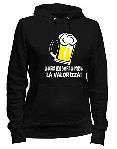 T-Shirtshock Felpa Donna Cappuccio Nero T0990 LA Birra Non GONFIA LA Pancia LA VALORIZZA Bevande Sballo