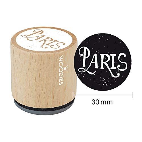 Woodies Houten stempel Parijs, 3.4 x 3.4 x 3.5 cm