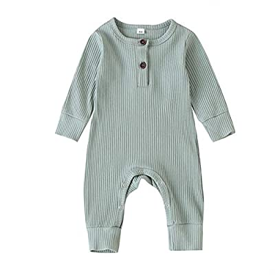 Argorgeous Newborn Baby Boy Girl Ribbed Romper Unisex Long Sleeve Bodysuit Pajamas Solid Plain Jumpsuits Fall Clothes (Z-Light Green, 0-3 Months)