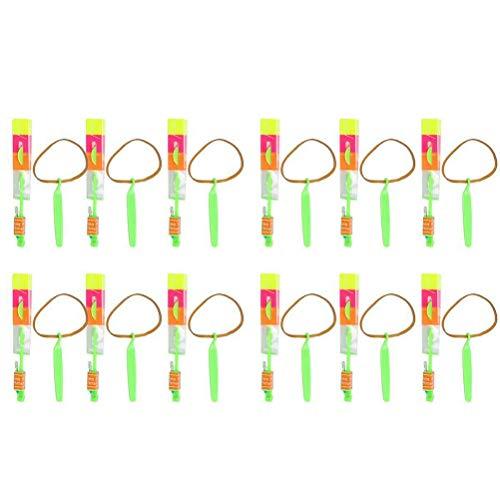 LED Hubschrauber Shooter, 12er Pack Leuchtstabschützen LED-Hubschrauber Schützen Party-Spiele Kinderparty, Erstaunliche LED-Lichtpfeil-Raketenhubschrauber Flying Toy Rocket Slingshot Copters