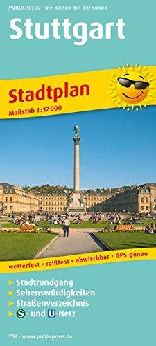 Stadtplan Stuttgart: Stadtrundgang entlang ausgewählter Sehenswürdigkeiten, Straßenverzeichnis, Verbund-Schienennetzplan, wetterfest, reissfest, GPS-genau. 1:17000