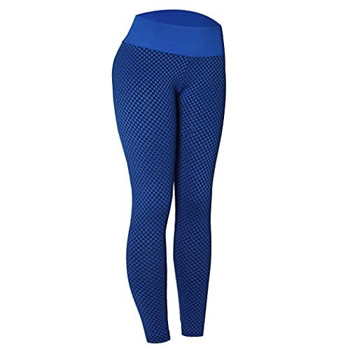 YHomU Lady Yoga Hosen Strukturierte Bauchkontrolle Hohe Taille Workout Leggings Beute Strumpfhose Damen Erwachsene Frauen MäDchen Laufen Indoor Outdoor Home Polyester