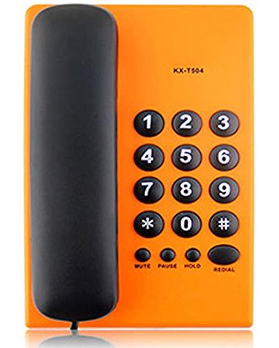 Big Button Teléfono Fijo, Teléfono Moderno con Cable, Sin Necesidad De Batería, Resistente Al Desgaste, Cancelación De Ruido, para El Hogar, Hotel, Negocios, Oficina, 6 Colores,Naranja