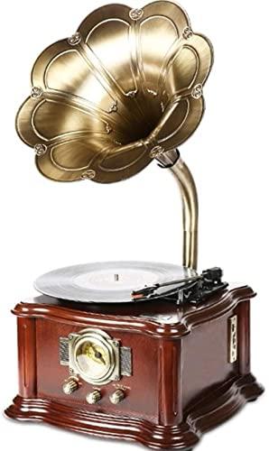 angelhjq tocadiscos de vinilo tocadiscos retro bluetooth audio hogar vivir decoración europea gran retro gramófono puro altavoz de cobre (Color: marrón, tamaño: 380x380x735mm)