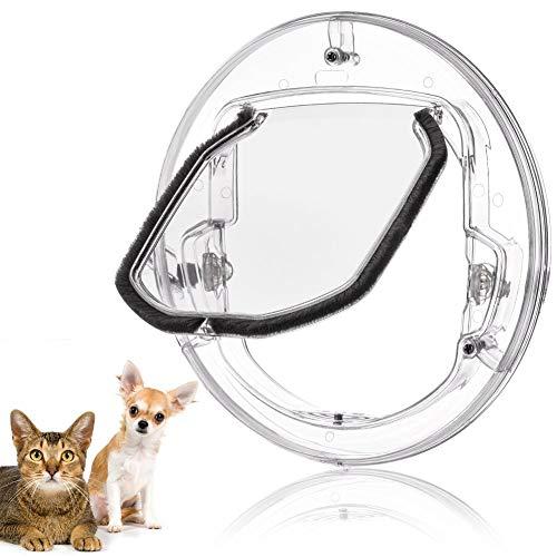 Fdit Katzenklappe Haustierklappe Kleine Hunde Katzen Tür mit 4 Möglichkeiten verriegeln Runde klar Katze Klappe mit Tür Liner Kit