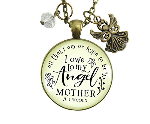 "Gutsy Goodness 36"" Mom Remembrance Angel Necklace All I am Quote Memorial Jewelry Gift"