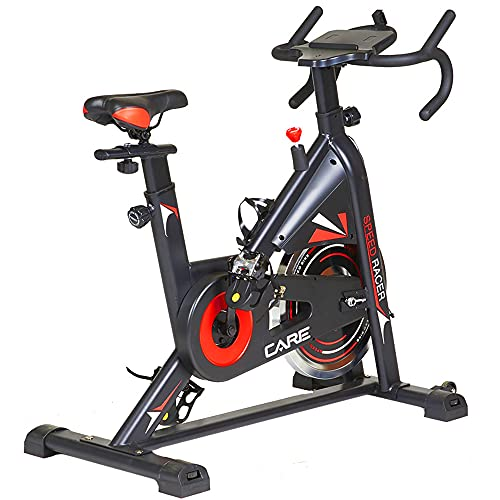 CARE FITNESS - Cyclette Spin-Bike Speed Racer, 6 funzioni, massa di inerzia 12 kg, freno con pattini