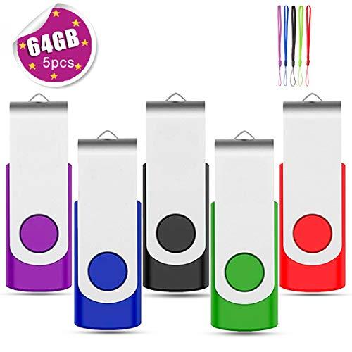 EASTBULL - Chiavetta USB 2.0, design girevole, 5 pezzi Multicolore. 64 Gb