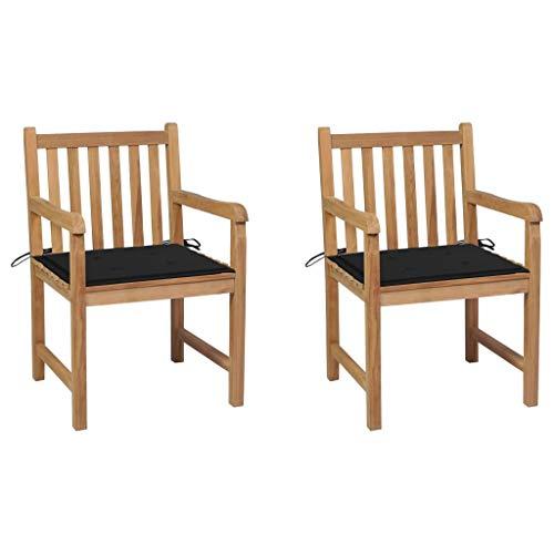 vidaXL 2 sedie da giardino in teak massiccio, con cuscini neri e braccioli da giardino, sedie in legno, sedie da giardino, sedie da terrazzo