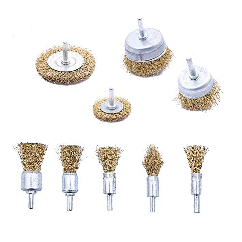 upain 9 Pieces Drill Wire Brush Set Brass Coated Wheel Cup Brush Kit Multi-size Wire Brush Drill Bit for Rust Removal Corrosion Paint Cleaning Remover