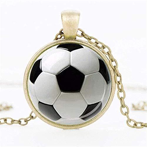 CCXXYANG Co.,ltd Collar Collar De Hombre S Clásico Fútbol Po Hombres S & Mujeres S Collar De Cristal Colgante Collar Colgante Collar Regalo para Mujeres Hombres Niñas Niños