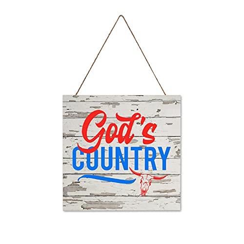 BYRON HOYLE Placa de madera colgante de Gods Country 4 de julio Día de la Independencia Placa de madera rústica para decoración de pared para interiores y exteriores