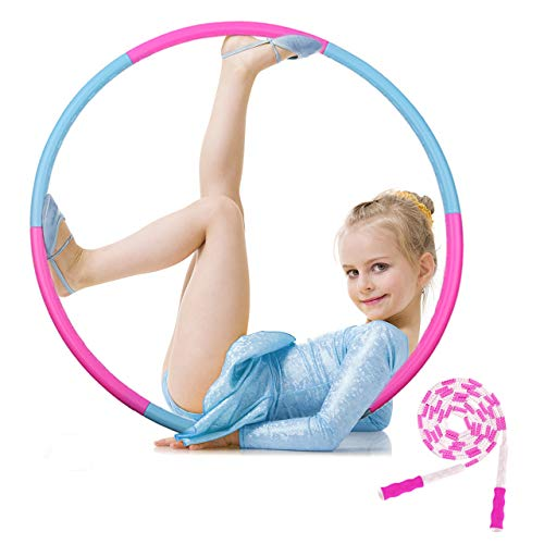 Hoola Hoop and Soft Beads Jump Rope for Kids and Adults Detachable Adjustable Size Weight Exercis Plastic Hoola Hoop for Kids and Adults Professional Fitness Hoola Hoops Skipping Rope