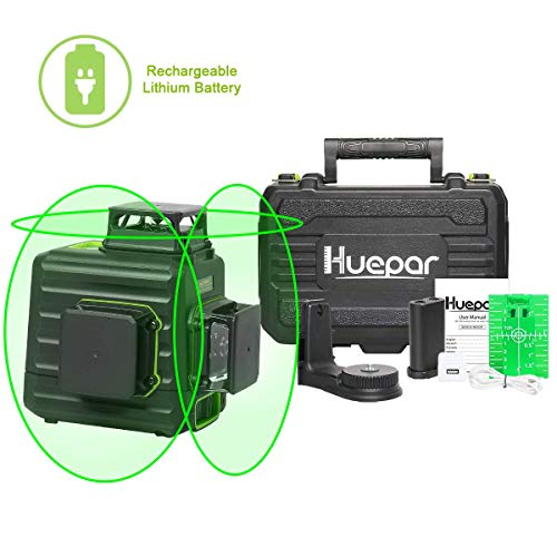 Huepar 3x360 Laser Level 3D Green Beam Selfleveling Cross Line Laser ThreePlane Leveling and Alignment Laser  Switchable Vertical amp Horizontal Lines Liion Battery amp Hard Carry Case included B03CG