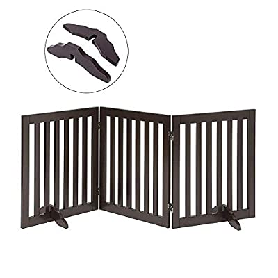 Total Win Freestanding Pet Gate for Dogs with 2PCS Support Feet, Foldable Wooden Dog Gates for Doorways Stairs, Indoor Pet Puppy Safety Fence, 24 Inches H, 60 Inches W, 3 Panels, Espresso
