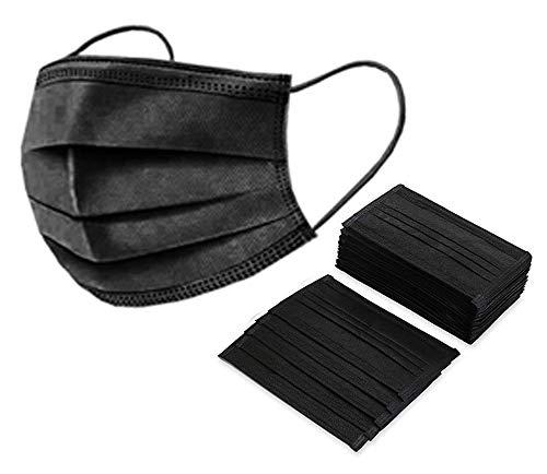 Mundschutz 10 Staubschutz Einweg Dreischichtig Schutz mit Ohrringen Schwarz