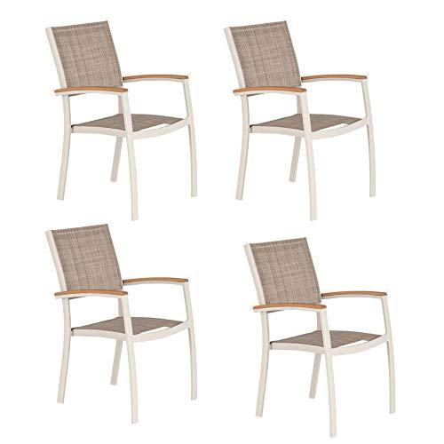 Meubletmoi PAYO 7893 Gartenstühle, stapelbar, Aluminium und Textilene