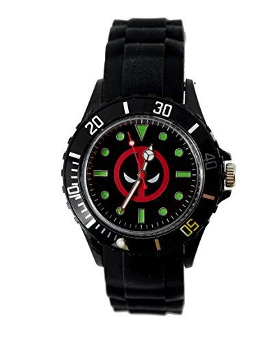 Wristwatches Unisex Uhr Analoges Quarzwerk mit Silikon Armband Marvel Super Hero Deadpool