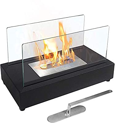 Skypatio Tabletop Fireplace, Indoor Outdoor Ventless Table Styled Firepits Portable Fire Bowl Pot, Black, Real Flame Like Gel Fireplaces or Wood Log Fire Pit,14 Inch