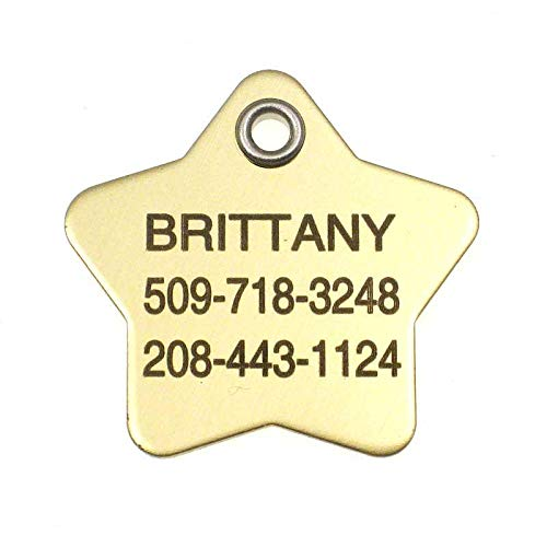 LuckyPet Pet ID Tag - Large Polished Brass Star - Durable & Easy to Read Dog or Cat Tag - Safety Reflective on Back