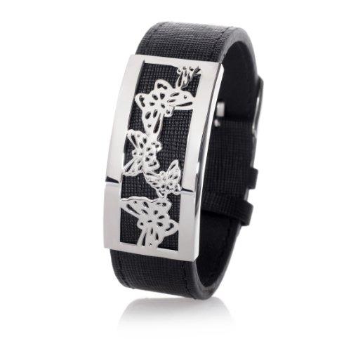 Frauen Leder Armband Schwarz- Edelstahl Platte motiv Schmetterlinge Silber Farbe - Breite 22mm SB9383-S Länge verstellbar 17 bis 21cm