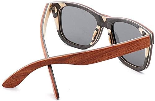Gafas de sol retro de madera de bambú, gafas de sol frescas y elegantes con lente polarizada protección UV
