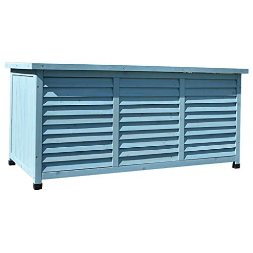 QILIN Outdoor Storage Shed, Solid Wood Low Cabinet Storage Cabinet, Tool Storage Box, Breathable/Waterproof/Corrosive, 132×66×60.5cm, (Blue/White)