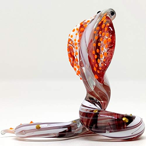 Sansukjai Snake/Cobra Miniature Figurines Animals Hand Blown Glass Art Collectible Gift Decorate, V2