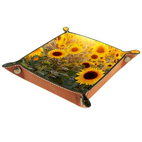 Bandeja de Cuero - Organizador - Flores bajo el sol - Práctica Caja de Almacenamiento para Carteras,Relojes,llaves,Monedas,Teléfonos Celulares y Equipos de Oficina