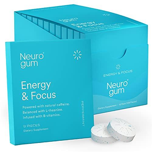 NeuroGum Nootropic Energy Gum   Caffeine + L-theanine + B Vitamins   Sugar Free + Gluten Free + Non GMO + Vegan   Enlighten Mint Flavor (108 Count)