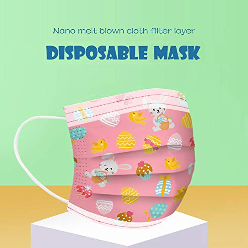 CawBing Adult Easter Pink Disposable_Face_mask_protection Soft Breathable 3 Ply Unique Easter Eggs and Rabbit Theme Printing Face_mask_protection for Outdoor Anti-dust(10 Pcs)